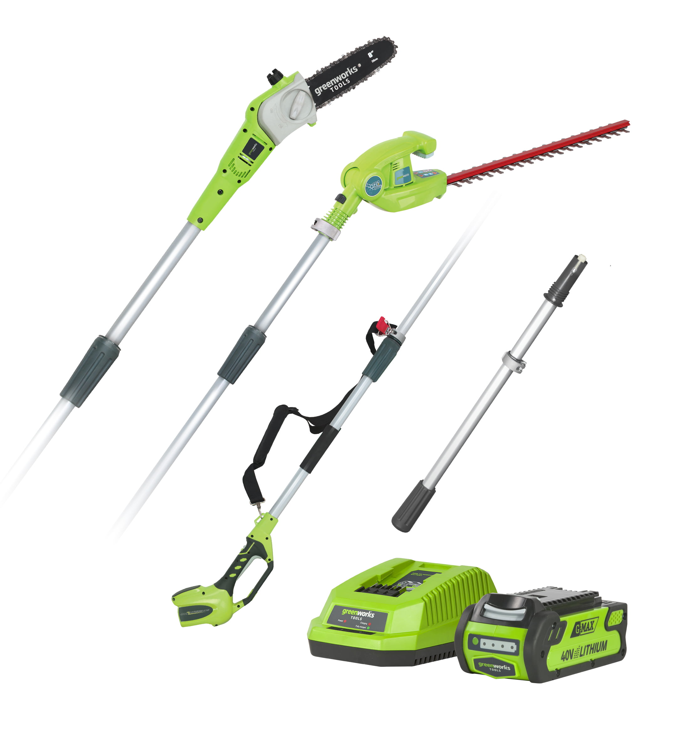 Greenworks G40PSHK2 40v Long Reach Hedge Trimmer & Pruner Combo with 2Ah battery and charger
