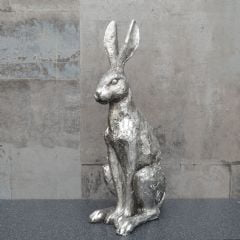 Candlelight Sitting Hare - Silver - 30cm