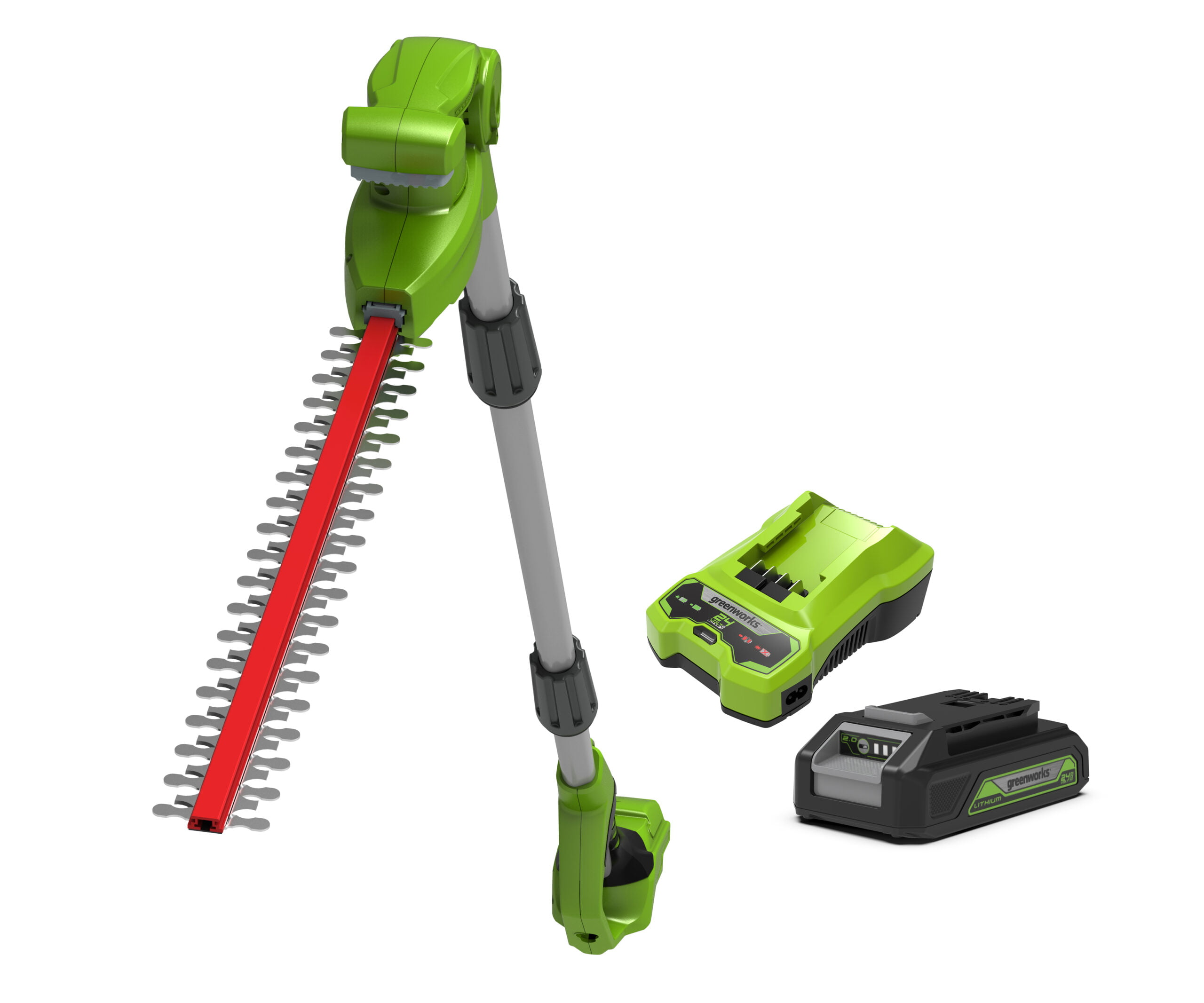 Greenworks 24V 51cm Long Reach Split Shaft Cordless Hedge Trimmer With 2Ah Battery & Charger