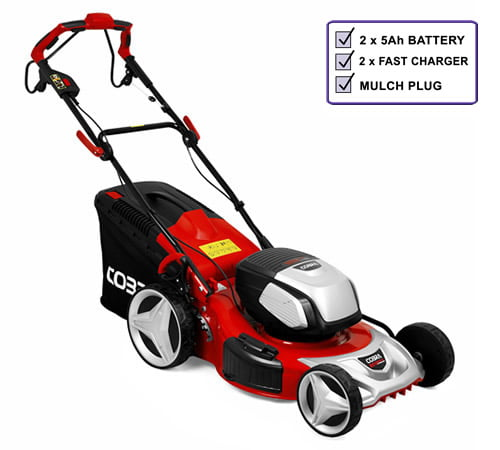 Cobra MX51S80V Self-Propelled Cordless Lawnmower c/w 2 x Batteries and Chargers
