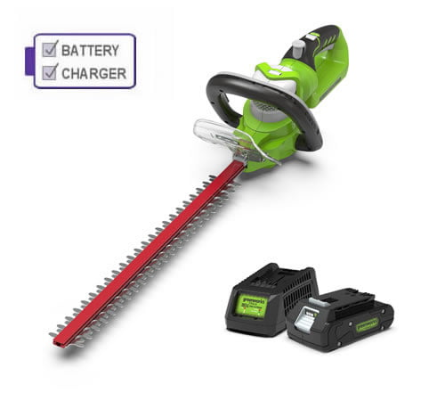 Greenworks G24HTK2 Cordless Deluxe Hedge Trimmer comes with 2Ah Battery and Charger