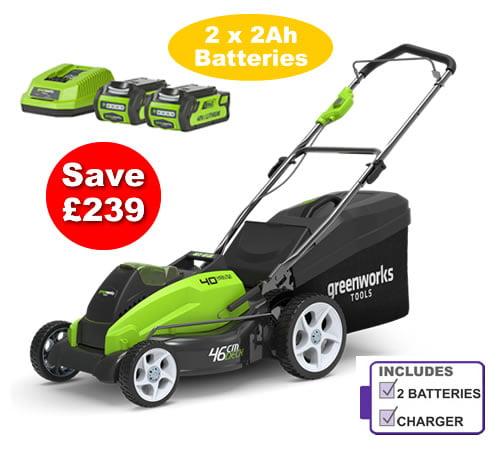 Greenworks G40LM45K2X Cordless 40v 45cm Mower c/w 2 X Batteries & Charger