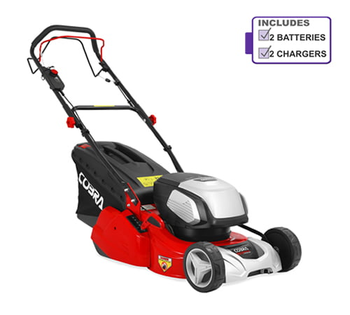 Cobra RM43SP80V Cordless Rear Roller Lawnmower with 2 x Battery & Charger